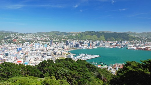 Wellington Harbour and skyline. Wellington is the gateway to the South Island of New Zealand